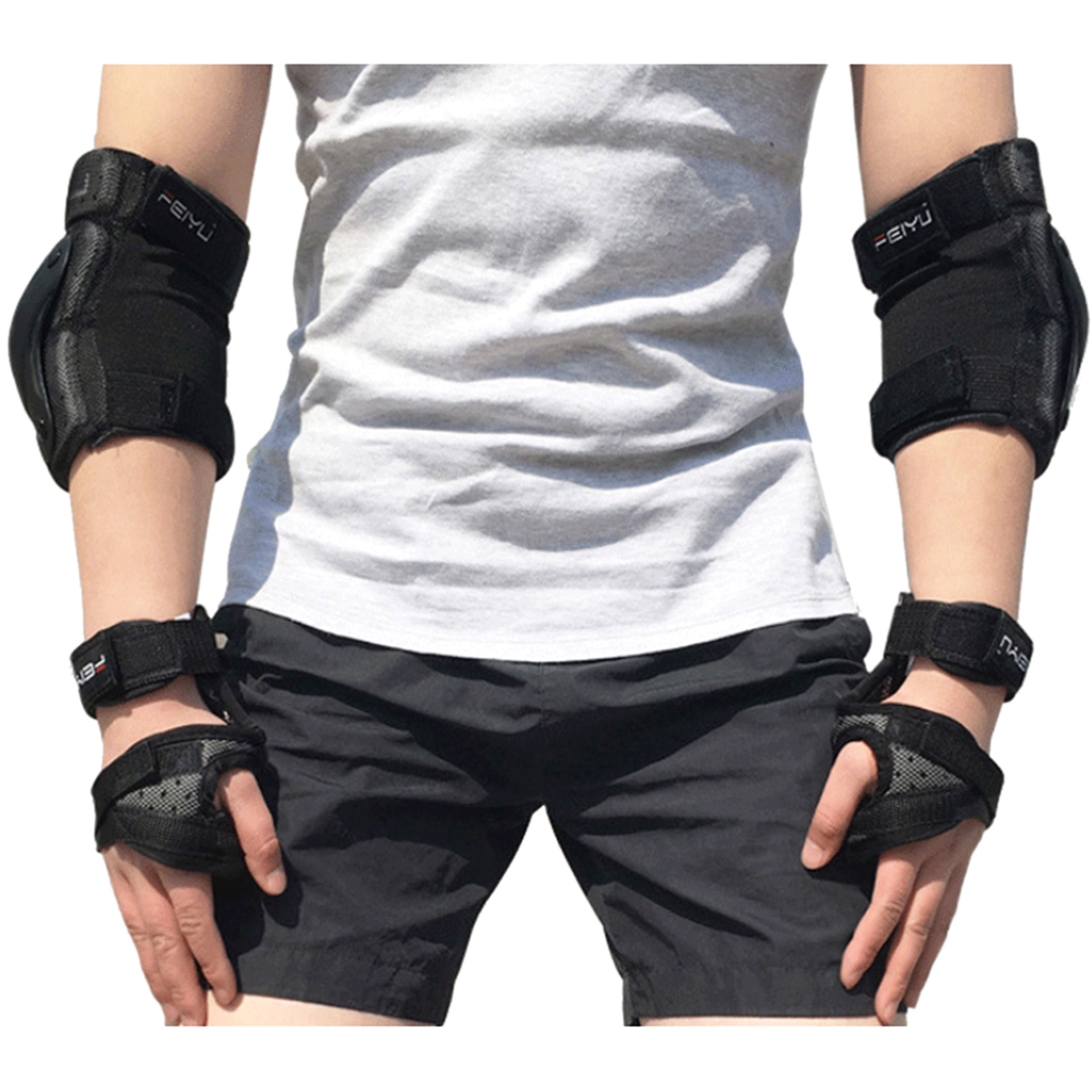 iguardor 6Pcs Children Sport Safety Protective Body Gear Set for Skating Bicycling Joint Protection - Black XS-XL