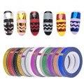 2016 Moda 12 Colores Vio Zigzag Wave Striping Tape Hilados Metálicos Línea Nail Art Consejos de Decoración 1 Roll/lot
