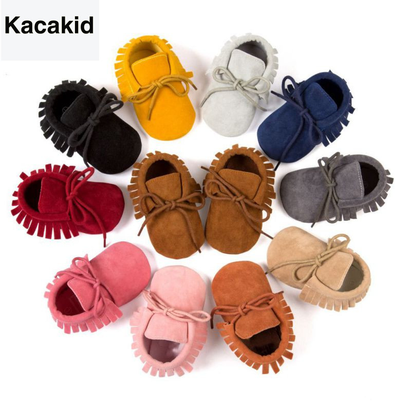 Kacakid Baby Sko PU Suede Leather Nyfødt Baby Boy Girl Moccasins Myke Sko Fringe Soft Soled Non-slip Crib First Walkers