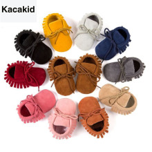 Купить с кэшбэком PU Suede Leather Newborn Baby Boy Girl Moccasins Soft Moccs Shoes Bebe Fringe Soft Soled Non-slip Footwear Crib Lace-up Shoe