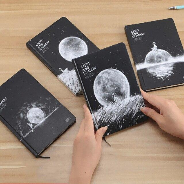 달의 단계 우주 행성 카와이 소녀 하드 커버 노트 귀여운 일기 책 개인 저널 메모장 의제 어린이 문구
