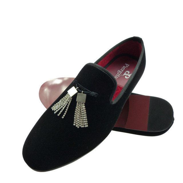 f52ad9bca74 mens velvet shoes black loafers shining crystal tassel slippers US size  6-13 free shipping