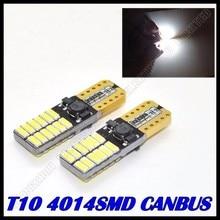 100pcs/lot Free shipping Car Auto LED light T10 led canbus w5w Canbus 24led 4014smd  LED Light Bulb No error led light parking
