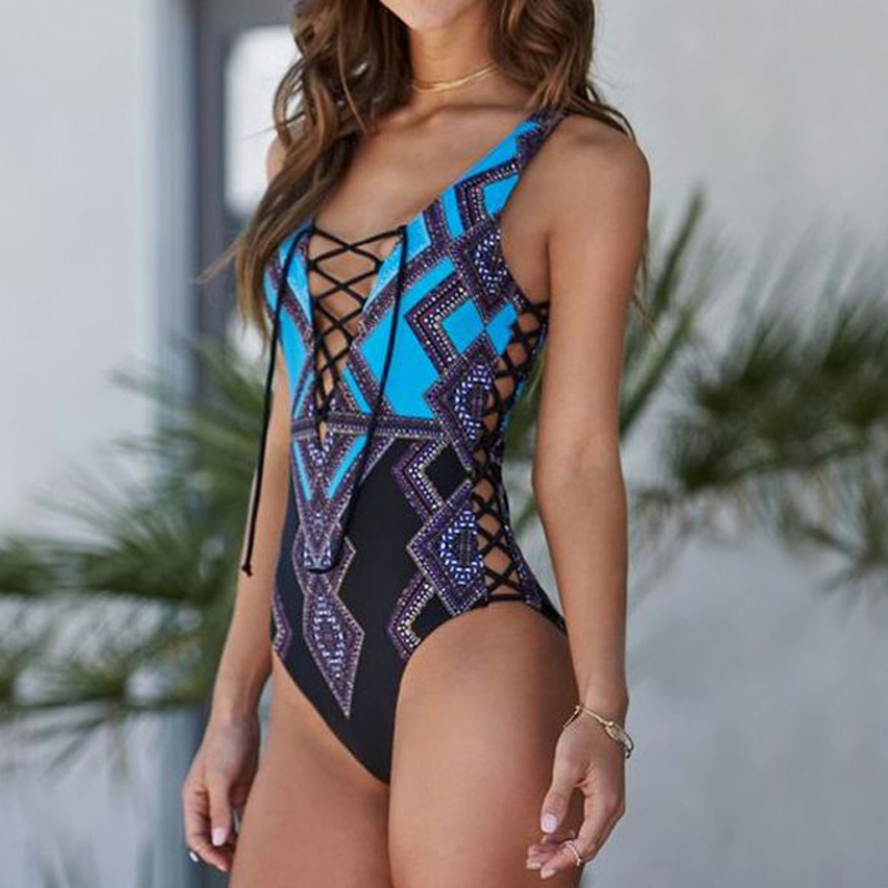 M&M 2018 One Piece Swimwear Women Swimsuit Sexy Monokini Padded Swim Suit Floral Bodysuit Bathing Suit High Cut Beach Wear fit 77235