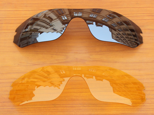 Chrome Silver & Crystal Yellow 2 Pieces Replacement Lenses For Radar Edge Sunglasses Frame 100% UVA & UVB Protection