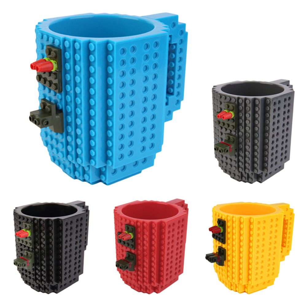 2017 Creative DIY Build-on Brick Mug Lego Style Puzzle Mugs Building Blocks Water Bottle Frozen Coffee Mug Christmas toy Mugs