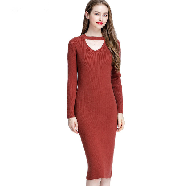 2018 Autumn Winter Tight Stretchy Sweaters Knitted Dress Women Sexy Casual Long Maxi Sweater Dress Pull Vestidos Party Dresses