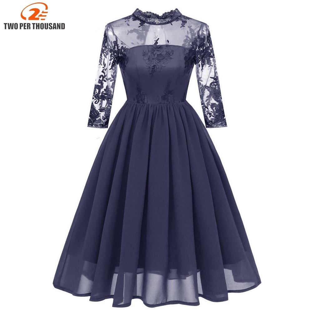 ce052d5b1d6 Christmas Women Embroidery Mesh Midi Dresses Lace Neck Chiffon Vintage  Dress Elegant Party Floral Dress Vestidos de fiesta