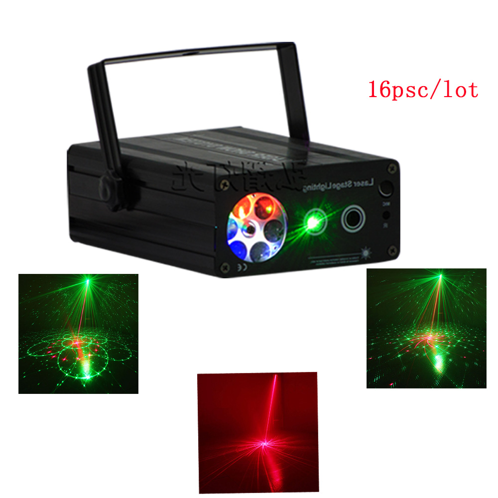 16ps Hongyi Red green Mini Laser Light Projector Sound System Equipment DJ Disco Stage Lighting Effect Party Xmas Holiday Lights new stage effect mini laser light red disco laser effect projector light show system equipment for dj party ktv