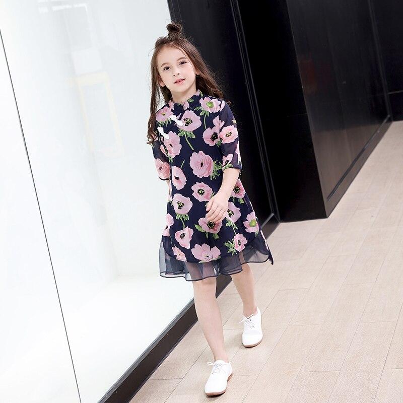 Fleur filles robe d'été mode adolescente enfants princesse vêtements enfants fête vêtements à manches courtes robe florale pour les filles - 4