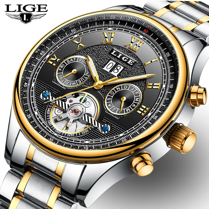 New LIGE Luxury Brand Fashion Business Automatic machinery Watches font b Men b font Full Steel