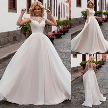Charming Chiffon Jewel Neckline A Line Wedding Dress With Lace Appliques & Belt Nude Bridal Dress vestido de noiva com manga
