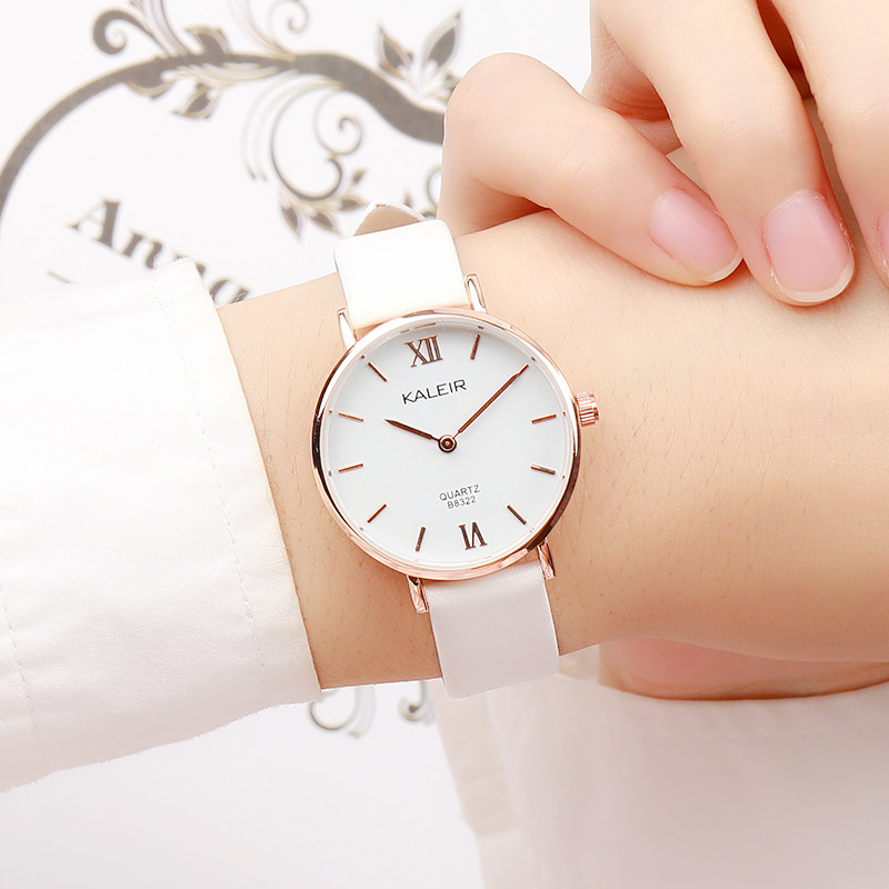 KALEIR Small Fresh Lovely Girl Wristwatches Women Luxury Brand Leather Fashion Ladies Geneva Quartz Wrist Watch For Women Clock julius women s watch for small wrist ladies top quality luxury blue wristwatches japan movement waterproof leather clock ja 1077