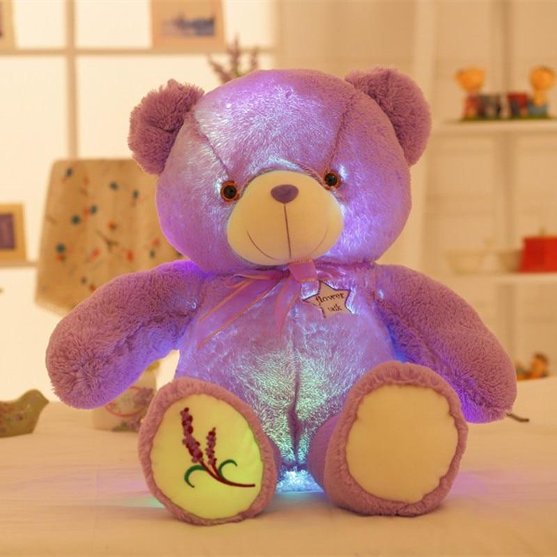 50cm Creative Glowing Lavender Teddy Bear Luminous Led Plush Toys Lovely Staffed Bear Dolls Toys Kids Gift Birthday Gift