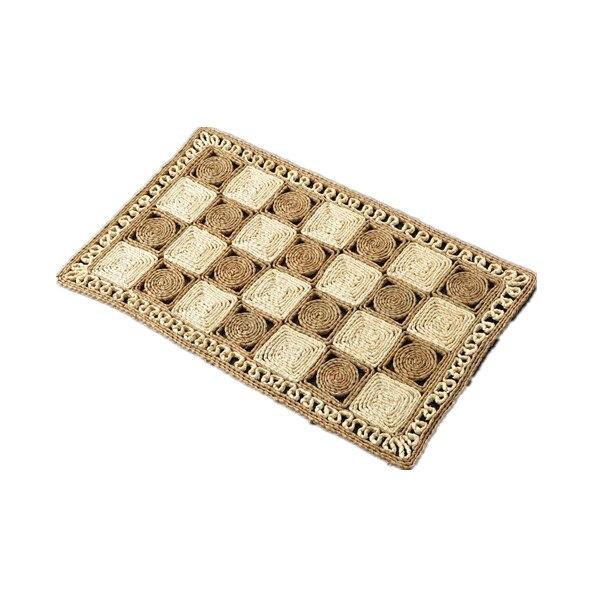 Point fait main tapis de sol paille tapis de porte tressé tapis d'entrée salon coussin de pied