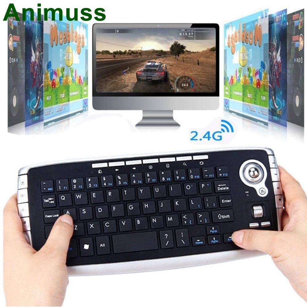 ANIMUSS Klavye, Kablosuz Topunu Klavye Mini 2.4G Kablosuz, Multimedya Fare ve Klavye Kombinasyonu Set SiyahANIMUSS Klavye, Kablosuz Topunu Klavye Mini 2.4G Kablosuz, Multimedya Fare ve Klavye Kombinasyonu Set Siyah
