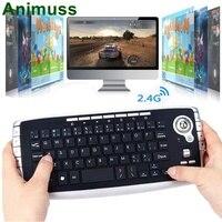 ANIMUSS Keyboard, Wireless Trackball Keyboard Mini 2.4G Wireless, Multimedia Mouse and Keyboard Combination Set Black