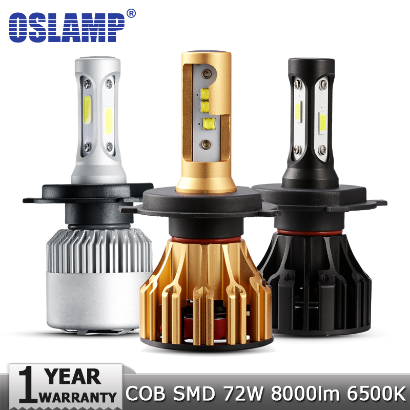 Oslamp H4 H7 H11 H1 H3 9005 9006 LED Headlight Bulbs Hi-Lo Beam COB SMD 72W 8000lm 6500K Car Auto Headlamp Fog Light 12v 24v oslamp h4 h7 led headlight bulb h11 h1 h3 9005 9006 hi lo beam cob smd chip car auto headlamp fog lights 12v 24v 8000lm 6500k