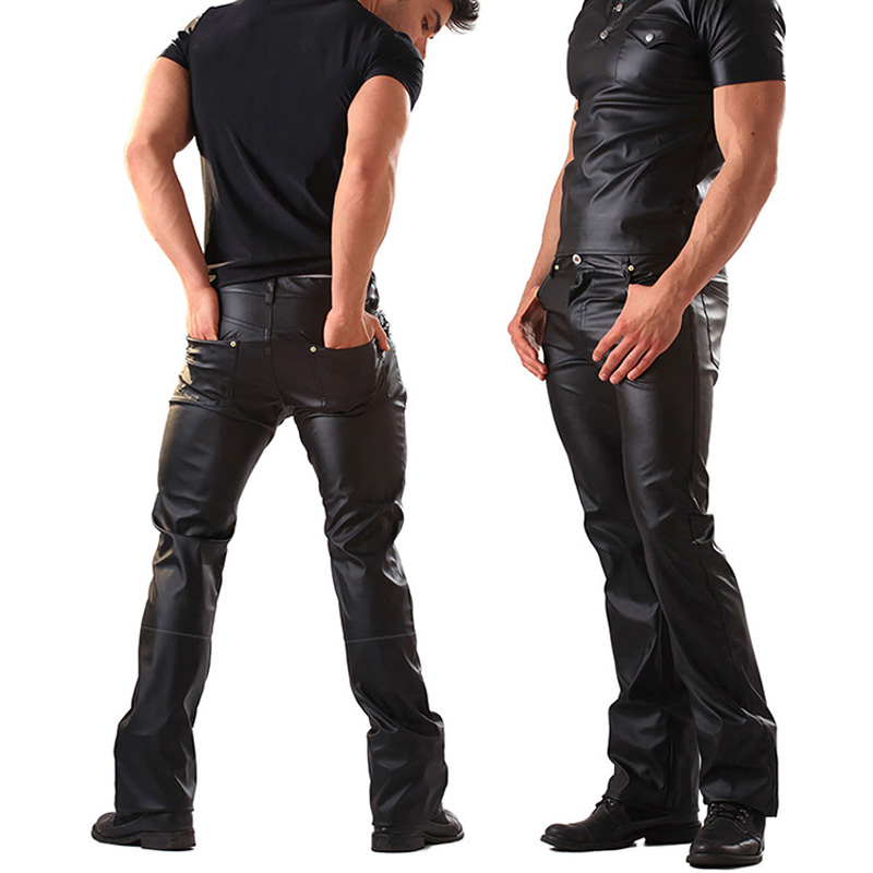 Mens Lingerie Wetlook Slim Fit Shiny Patent PVC Leather Latex Nightclub Party Club Pole Dance Pants Leggings Gay Fetish Trousers image