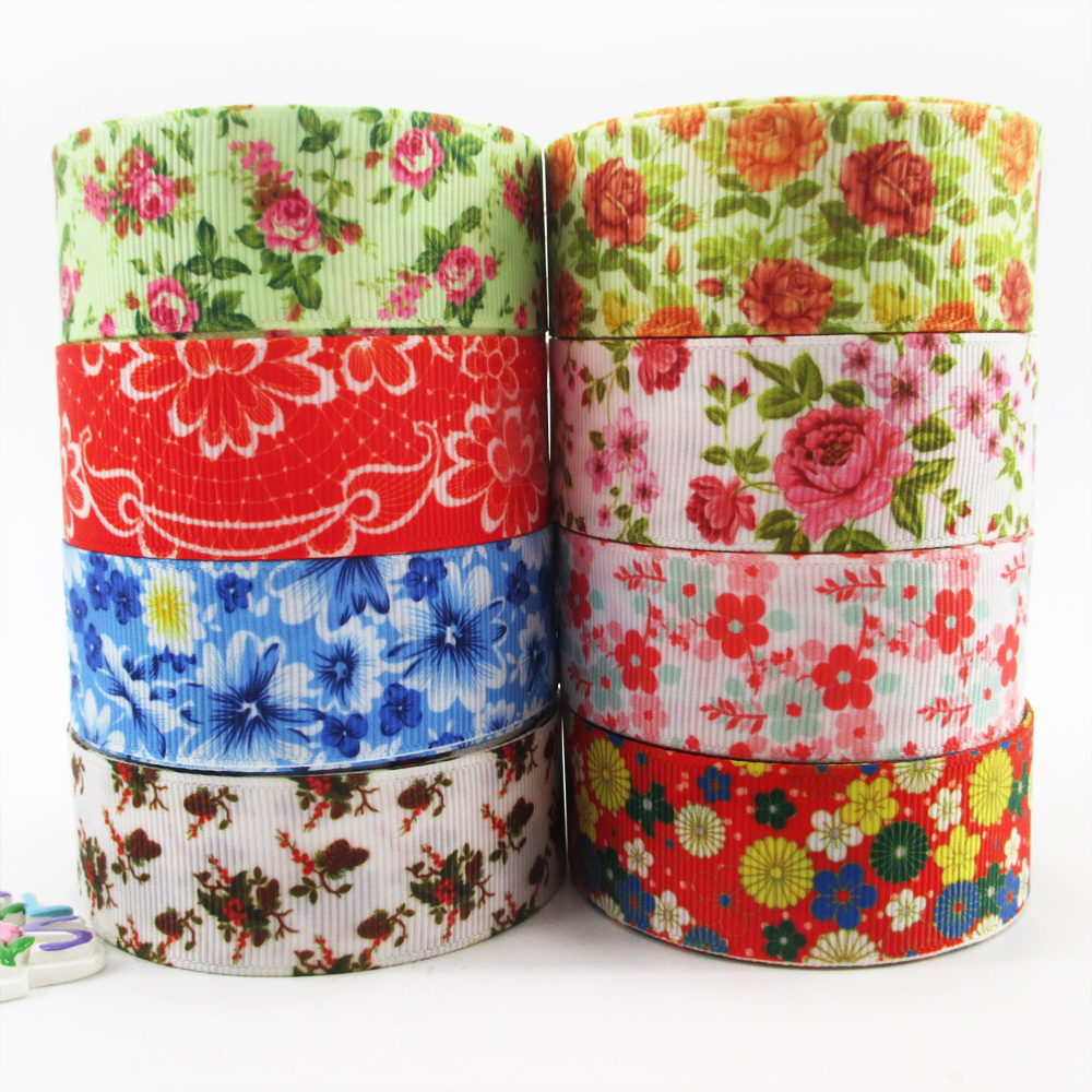 1 5yds Per Roll 25mm Flowers High Quality Printed Polyester Ribbon 5 Yards,diy Handmade Materials,wedding Gift Wrap,5y50941