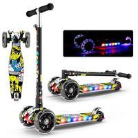 Folding Shining Kid Scooter 2 16Y Height Adjustable Foldable Children Balance Bike Light Flash Baby Ride With LED Light