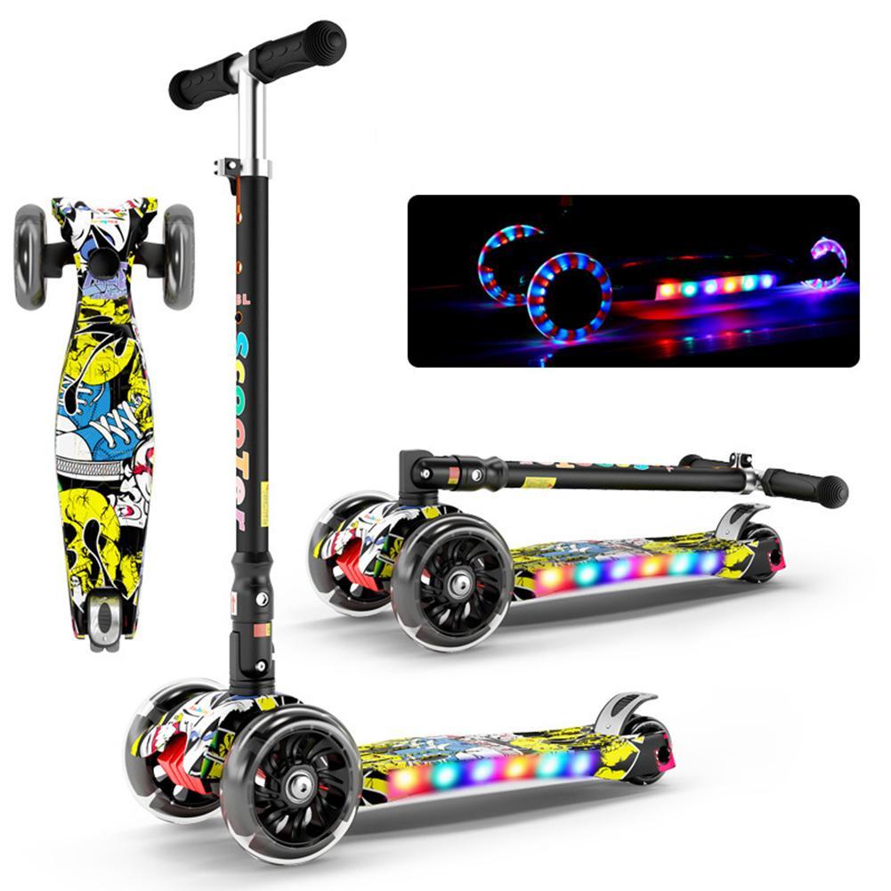 Pliant brillant enfant Scooter 2-16Y hauteur réglable pliable enfants Balance vélo lumière Flash bébé Ride avec lumière LED