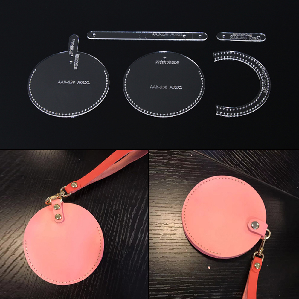 DIY Round Coin Purse  Acrylic Template Leather Craft Pattern Handmade Leather Goods DIY Sewing For Leather Tools Access
