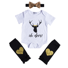 Autumn Warm Baby Girls Clothes Set Newborn Infant Kids Boy Girl Outfits Long Romper Tops Leg Warmers Headband 3PCS Clothes Set