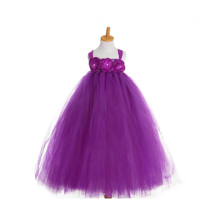 Purple Gray Cute Kids Pageant Bridesmaid Bridal Tulle Tutu Princess Ball Gown flower girls kids wedding formal bridesmaid party