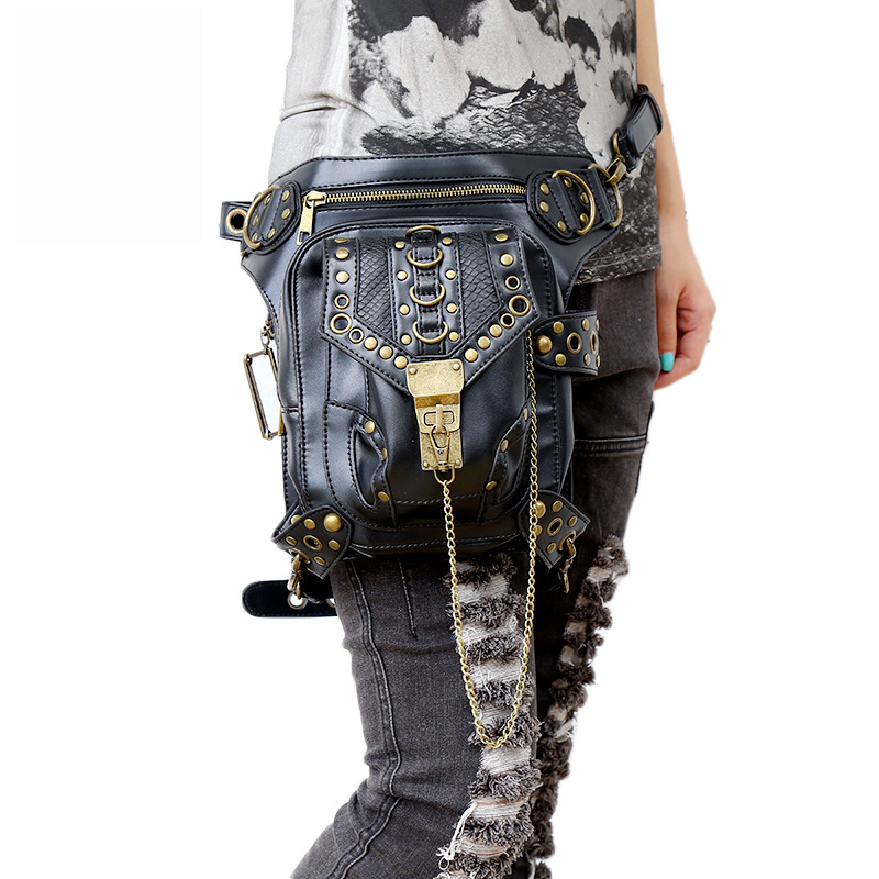 Luxury Handbag Steam Punk Skull Gothic Waist Bags PU Leather Rivet Leg Thigh Holster Bag Personalized Phone Purse Messenger Bag gothic skull cross rivet cow leather double fold wallet brown