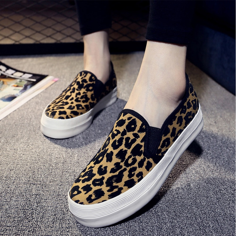 21b2be86107c HIBISMIX Women Creepers Flat Platform Shoes Spring Autumn Women Leopard  Canvas Slip On Shoes Ladies Casual Flats Mocassin 1011-in Women s Flats  from Shoes ...