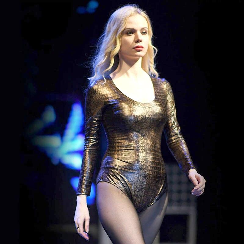 Sexy Women Latex Pu Snake Camo High Cut Bodysuit Deep V Neck Bottom Wear Leopard Shiny Plus Size F56