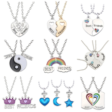 Best Friend Necklace Charm Lady Crystal Heart Tai Chi Crown Best Friend Forever Necklace Pendant Friendship BFF Jewelry Gift цены