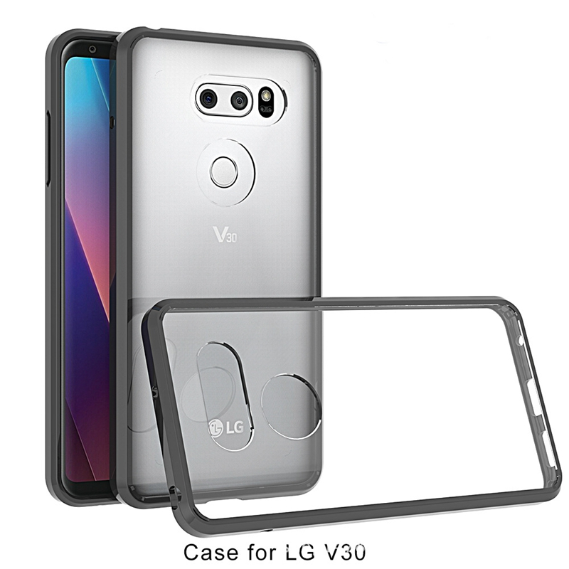 For LG V30 Case 6.0' Luxury Silicone Crystal Transparent Soft TPU+Hard PC Bumper Cover For LG V30 H930 H931 Dual Slim Phone Case