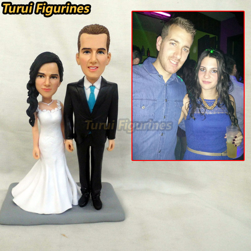 Turui Figurines wedding bride and groom miniature cake topper stature sculpture from your photo custom face doll baby art work