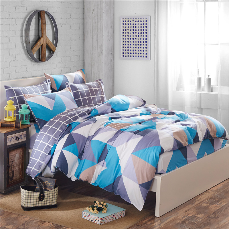 Modern simple style 100%Cotton Bed Sheet Pillowcases Duvet Cover SetS Geometric plaid Printing Queen King Size 4pcs Bedding SetsModern simple style 100%Cotton Bed Sheet Pillowcases Duvet Cover SetS Geometric plaid Printing Queen King Size 4pcs Bedding Sets