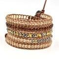 Leather bracelet Charm jewelry bracelets &bangles Handmade crystal  beads  leather Mulitilayer bracelet for women JBN-9048