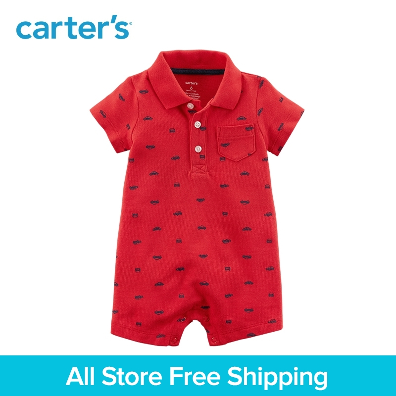 Carter's 1-Piece baby children kids clothing Boy Summer Cotton Car Romper 118H971 carter s 3 piece baby children kids clothing boy summer elephant babysoft bodysuit pant set 127g895