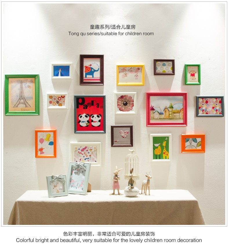 16 Pieces/Set Vintage Wall Wooden Photo Frames Set for Living Room ...