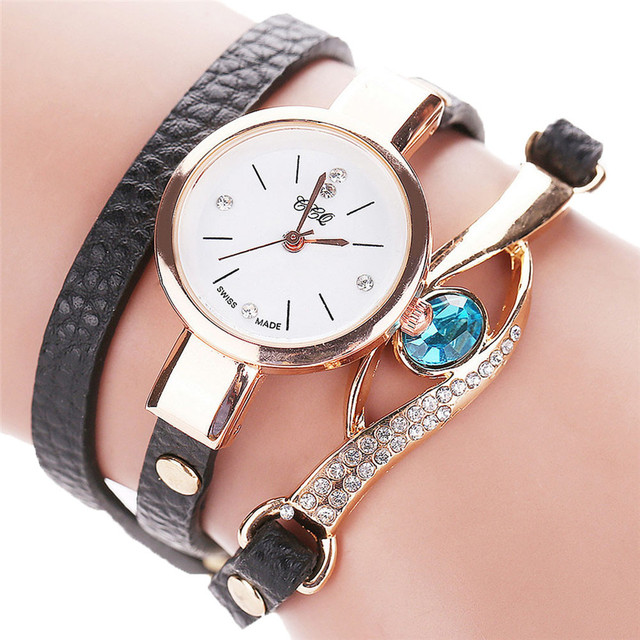 2018 CCQ Women Fashion Casual Analog Quartz Women Rhinestone Watch Bracelet Watc