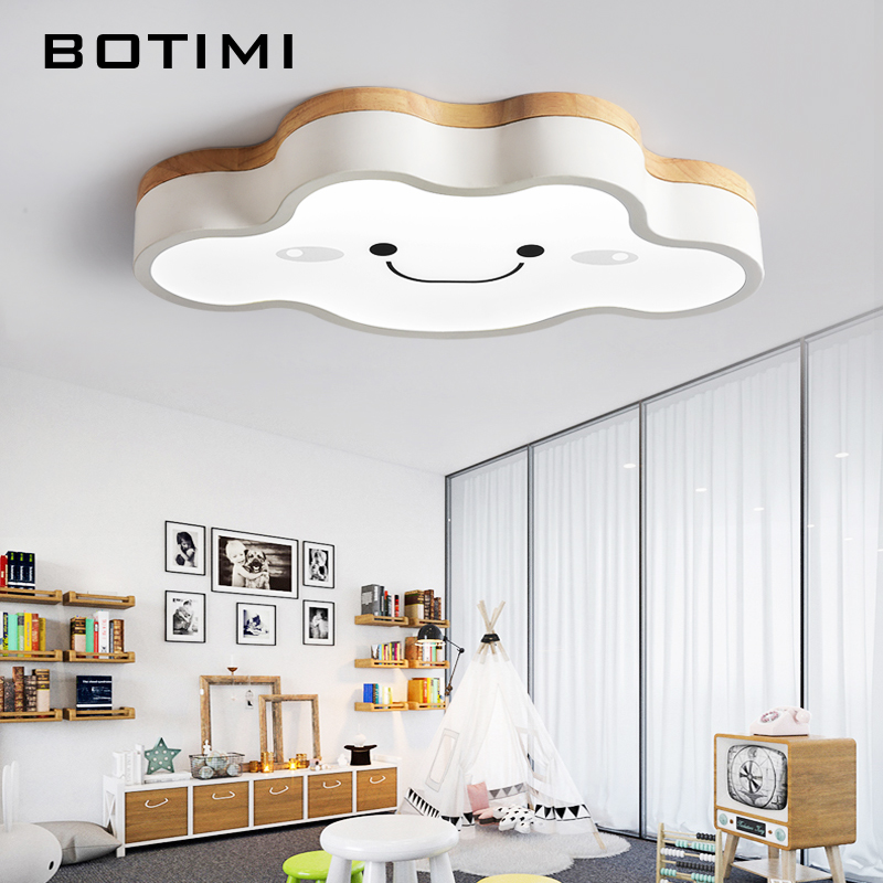 BOTIMI Cartoon Ceiling Lights Cloud Shape LED Ceiling Light For Bedroom Kids Luminaire Cute Wooden Kitchen Lighting Fixture