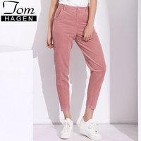Tom Hagen 2018 Spring Women's Wide Leg Trousers Female Loose Casual Pants Large Size High Waist Corduroy Harem Pants For Woman
