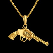 Dropshipping Hip Hop Punk Jewelry Collares Gold Black Color Stainless Steel Chain Revolver Gun Necklaces & Pendants