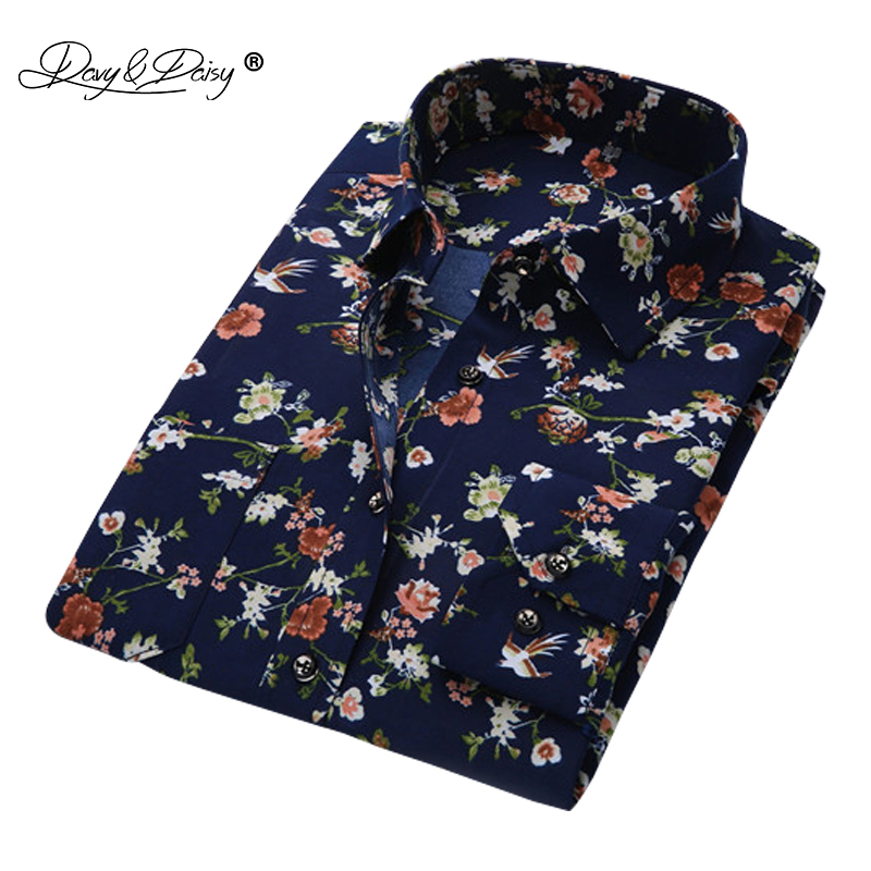 DAVYDAISY Hommes Chemise À Manches Longues Mode Floral Impression Mâle Chemises Marque Vêtements Casual chemise Homme camisa masculina DS004