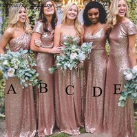 Sparkly Rose Gold Bridesmaid Gowns 2019 Sequins Country Western Style Junior Wedding Party Guest Dress Cheap