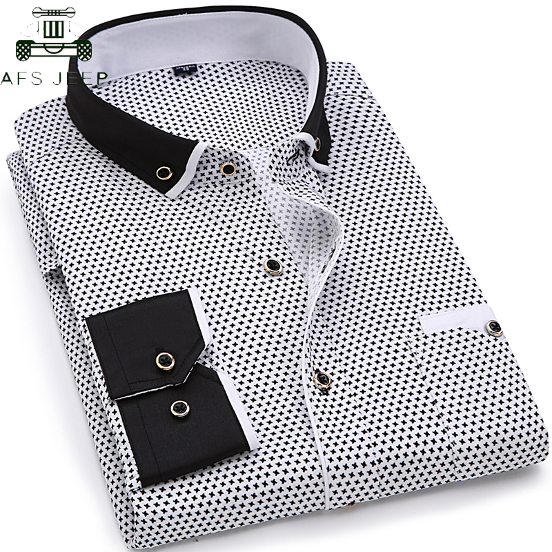Brand Clothing 2019 Men Fashion Casual Long Sleeve Printed Shirt Men Turn-down Collar Slim Fit Male Social Business Dress Shirt