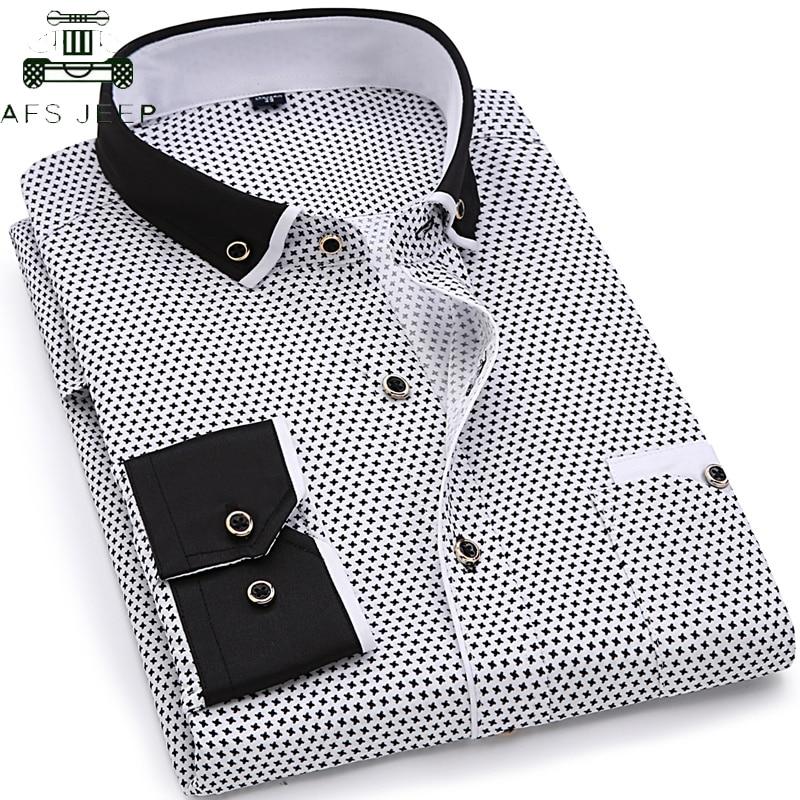 Brand Clothing 2019 Men Fashion Casual Long Sleeve Printed Shirt Men Turn-down Collar Slim Fit Male Social Business Dress Shirt