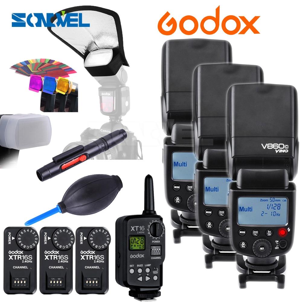 Godox  3x V860C Li-ion Flash Speedlite 2.4G 1/8000s+ FT-16S Power Control Wireless Trigger Kit For Canon M6 800D 6D 70D 5D 77D 2x godox v860c new li ion speedlite flash 1x ft 16s wireless trigger transimitter 2x receiver
