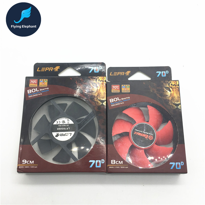 80x80x25mm/90x90x25mm computer cooling fans 12V 0.2A 2.4W PC CPU Cooler Cooling Fan with packing