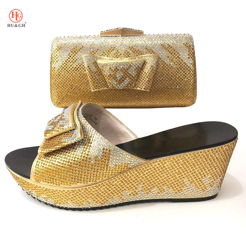 New beautiful Italian Matching Shoe And Bag Set African Style Ladies Golden Color Shoe And Bag To Match For Wedding Party Heels doershow shoe and bag to match italian african shoe and bag set african shoe and bag to match for parties matching shoes bch1 66